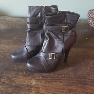 Brown high heel booties